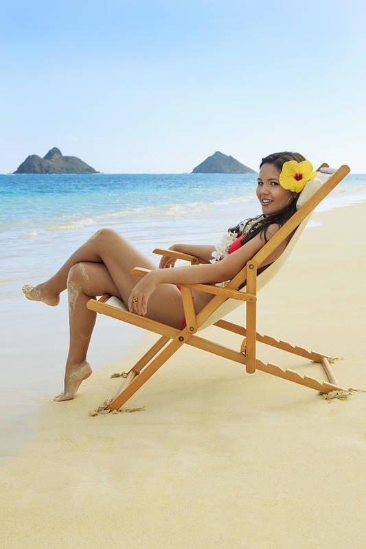 Attractive Print featuring the photograph Beach Lounger by Tomas del Amo