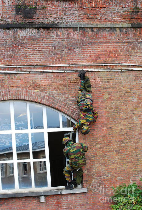 Army Art Print featuring the photograph Belgian Paratroopers Rappelling by Luc De Jaeger