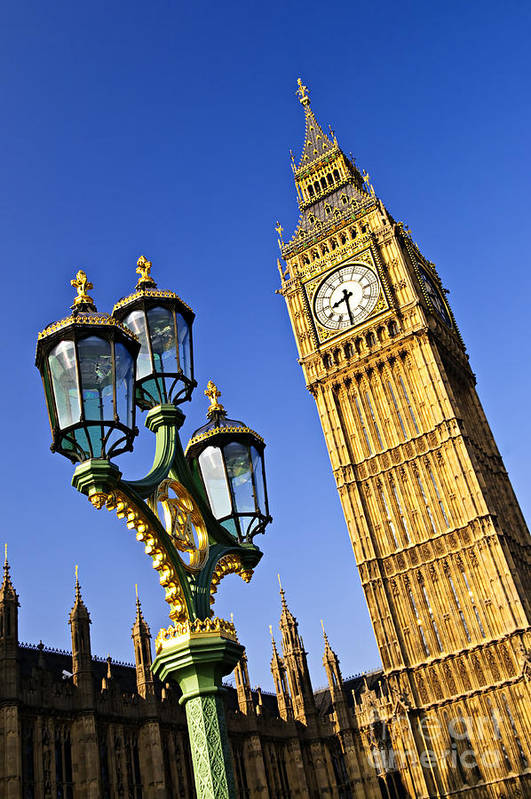Big Art Print featuring the photograph Big Ben And Palace Of Westminster by Elena Elisseeva