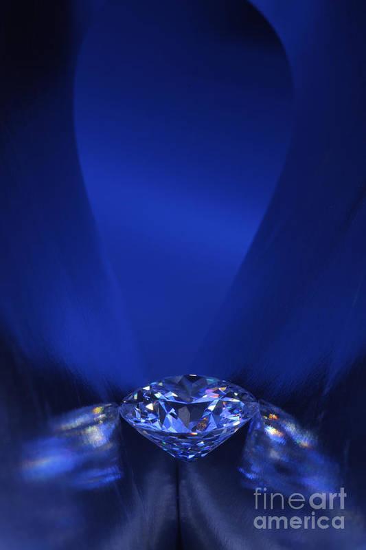 Abundance Art Print featuring the jewelry Blue Diamond In Blue Light by Atiketta Sangasaeng