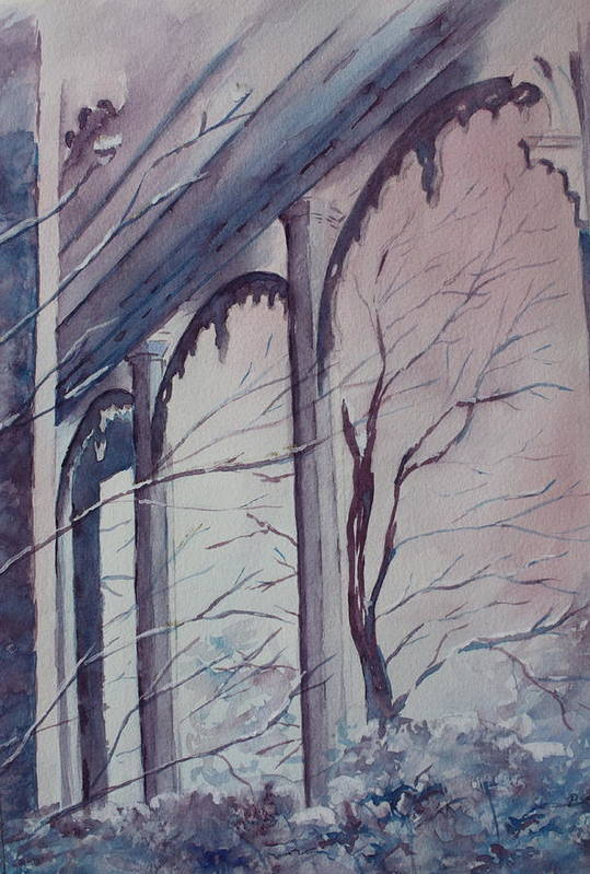 Snow Scene Art Print featuring the painting Blue Snow by Patsy Sharpe