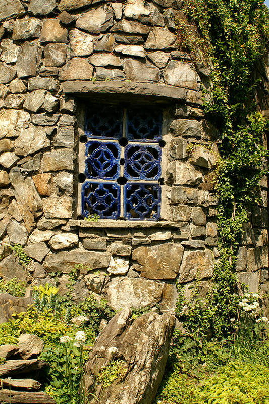 Stone Art Print featuring the photograph Blue Window by Margaret Steinmeyer