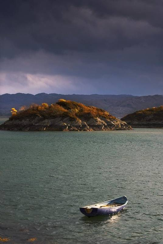 Anchored Art Print featuring the photograph Boat On Loch Sunart, Scotland by John Short