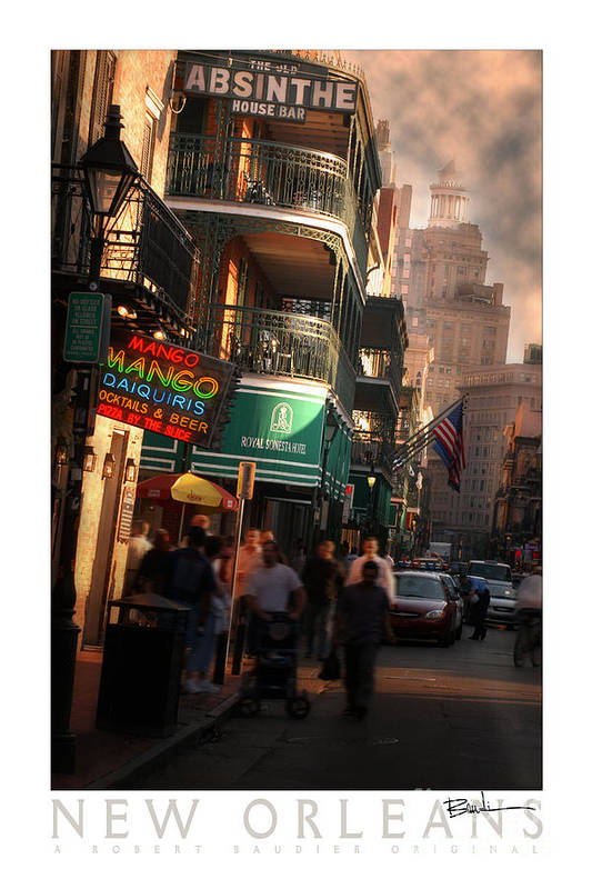New Orleans Art Print featuring the photograph Bourbon Street New Orleans by Robert Baudier