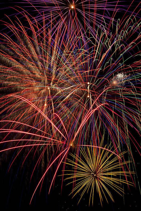 Fireworks 4th Of July Art Print featuring the photograph Bright Colorful Fireworks by Garry Gay
