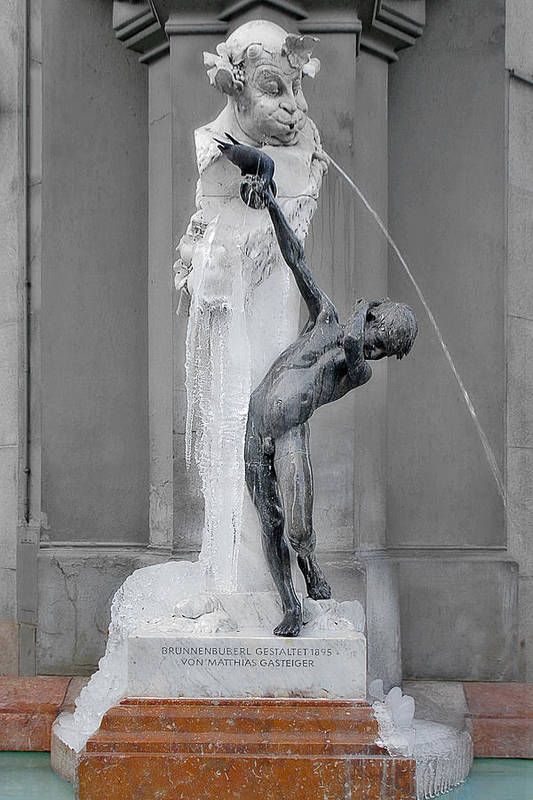 Art Nouveau Art Print featuring the photograph Brunnenbuberl - Boy At The Fountain - Munich Germany by Christine Till