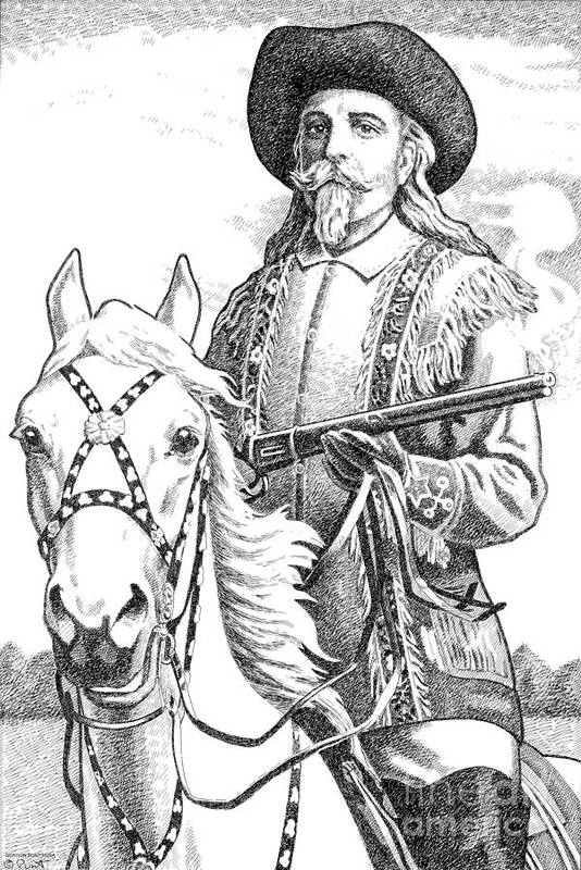 Jim Bridger Print featuring the drawing Buffalo-bill-cody by Gordon Punt