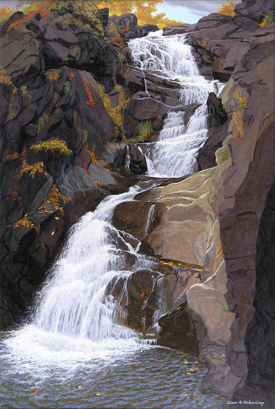 Buttermilk Falls Art Print featuring the painting Buttermilk Falls by Glen Heberling