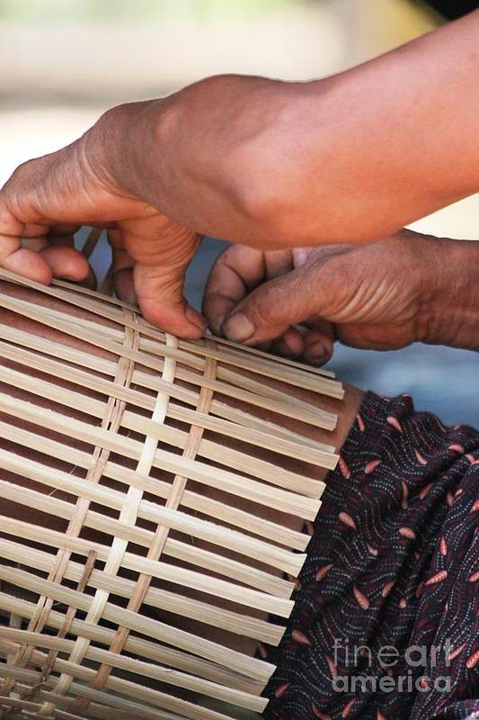 Hands Art Print featuring the photograph Cambodian Basket Weaver by Nola Lee Kelsey