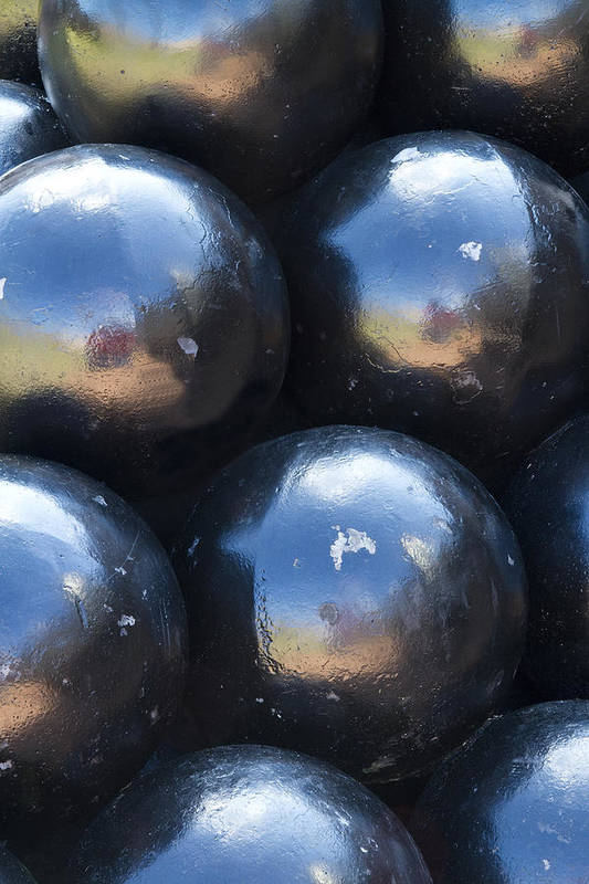Metal. Canon Balls Art Print featuring the photograph Canon Balls by Carrie Cranwill