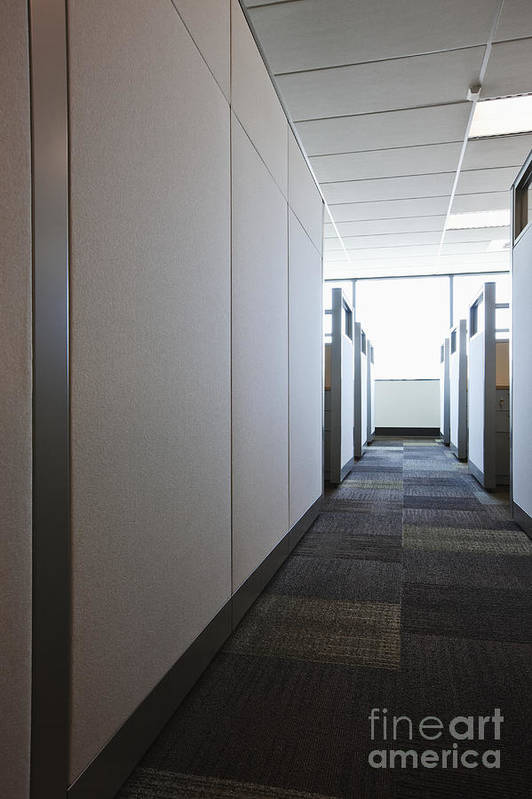 Aisle Art Print featuring the photograph Carpeted Hall With Office Cubicles by Jetta Productions, Inc