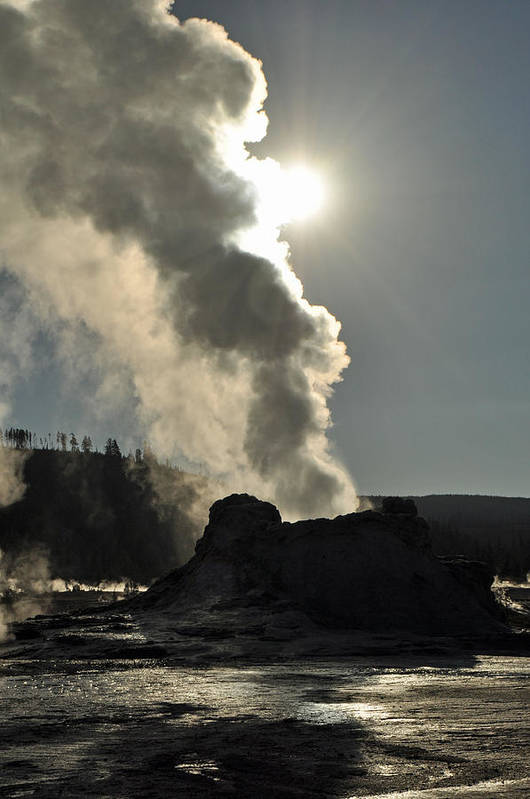 Yellowstone Art Print featuring the photograph Castle Geyser Morning II by Bruce Gourley