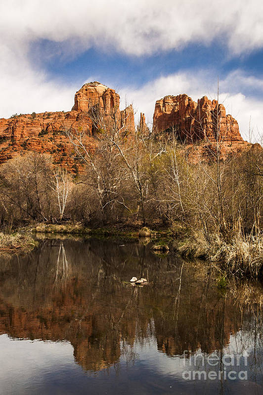 Cathedral Rock Print featuring the photograph Cathedral Rock Reflections Portrait 1 by Darcy Michaelchuk