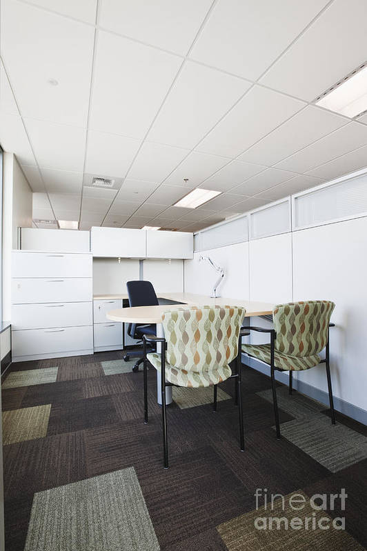 Architecture Art Print featuring the photograph Chairs And Desk In Office Cubicle by Jetta Productions, Inc