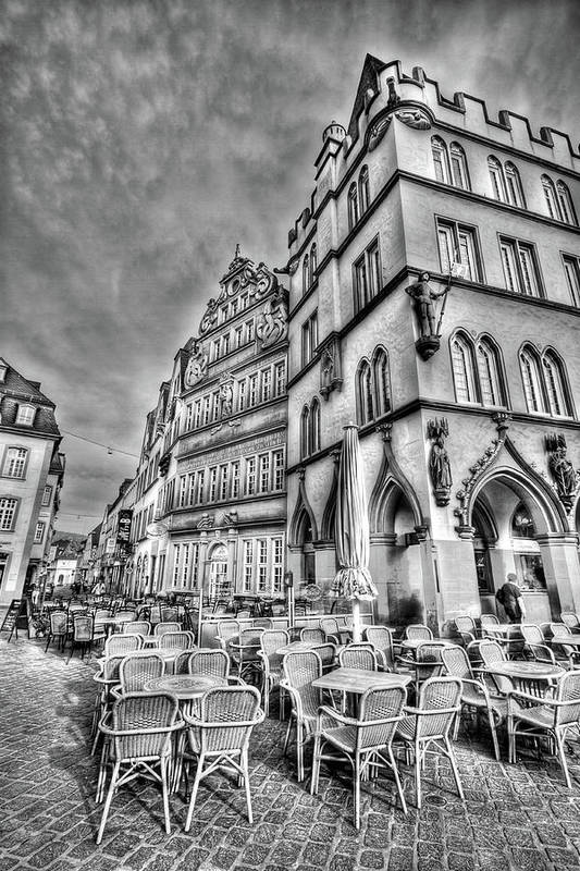 Trier Germany Art Print featuring the photograph Chairs In The Square by Bill Lindsay