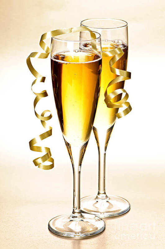 Champagne Print featuring the photograph Champagne Glasses by Elena Elisseeva