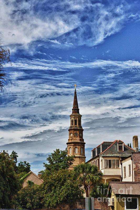 Charleston Art Print featuring the photograph Charleston Church Steeple by Steve Nelson