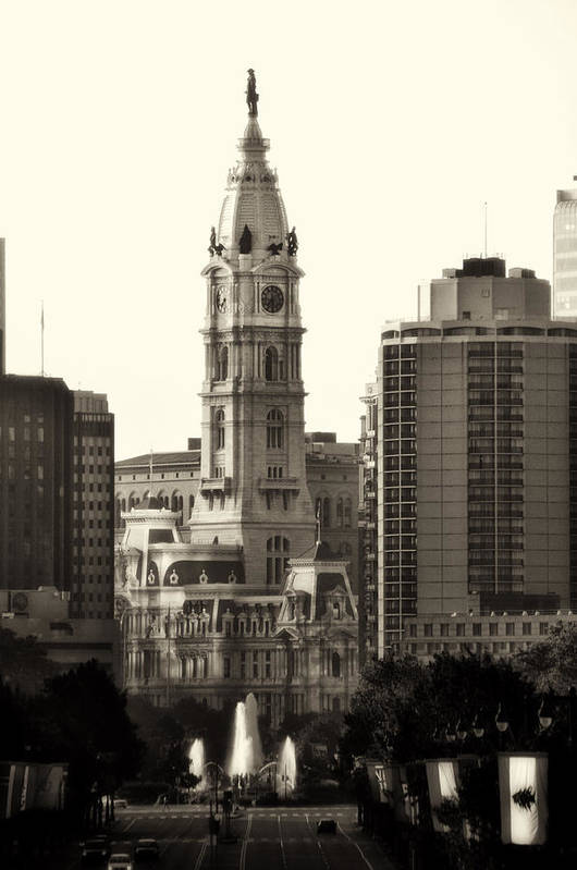 Philadelphia Art Print featuring the photograph City Hall From The Parkway - Philadelphia by Bill Cannon