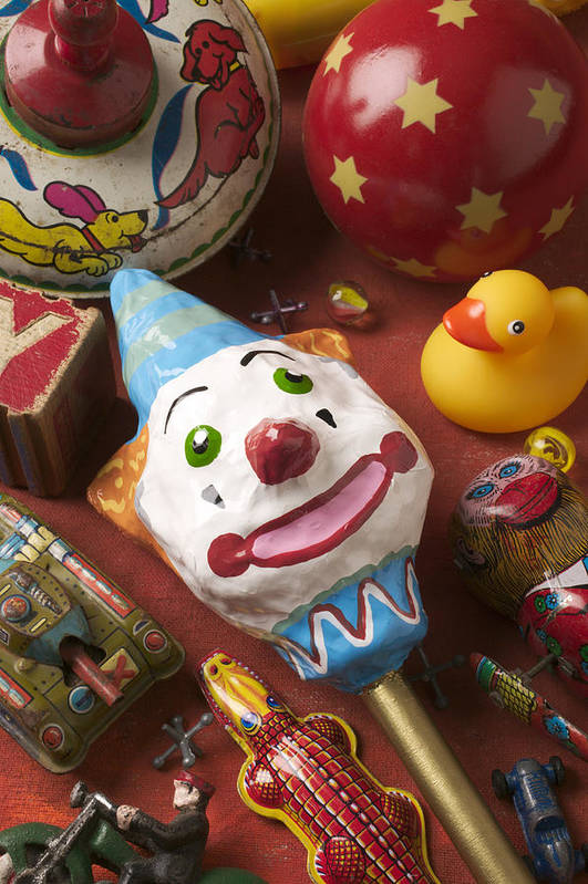 Toys Print featuring the photograph Clown Rattle And Old Toys by Garry Gay