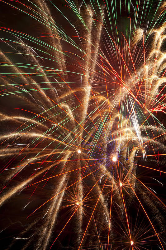 4th Of July Art Print featuring the photograph Colorful Fireworks by Garry Gay