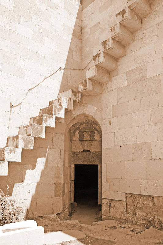 Sepia Art Print featuring the photograph Corner Stairs by Angela Siener