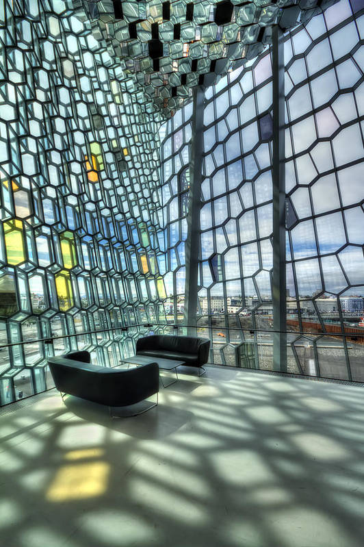 Harpa Art Print featuring the photograph Crystal Fantasy by Evelina Kremsdorf