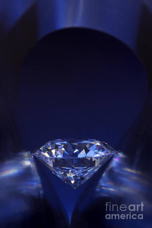 Abundance Art Print featuring the jewelry Diamond In Deep-blue Light by Atiketta Sangasaeng