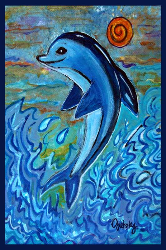 Tags: Dolphin Paintings Paintings Art Print featuring the painting Dolphin 4 by Paintings by Gretzky