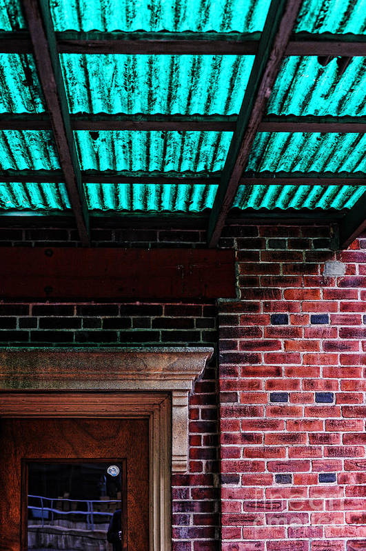 Door Art Print featuring the photograph Door With Green Overhang by HD Connelly