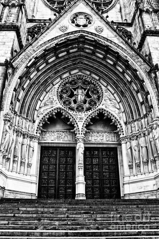 Church Art Print featuring the photograph Doors To Saint John The Divine by Anne Raczkowski