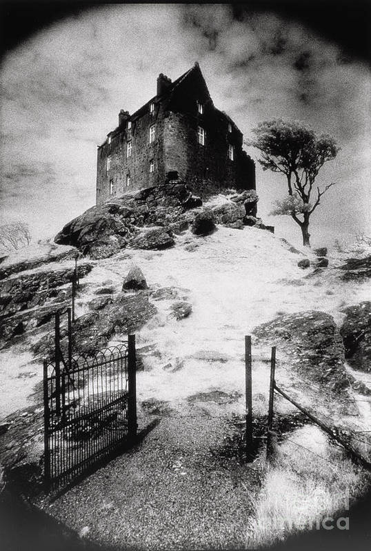 Duntrune; Architecture; Ruin; Ghostly; Eerie; Bleak; Hill; Haunted House Art Print featuring the photograph Duntroon Castle by Simon Marsden