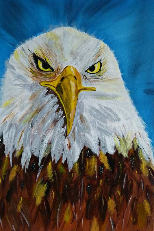 Acrylic On Canvas Print featuring the painting Eagle by Ismeta Gruenwald