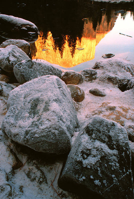 Winter Landscapes Art Print featuring the photograph El Capitan Reflected In Merced River by Chuck Wickham