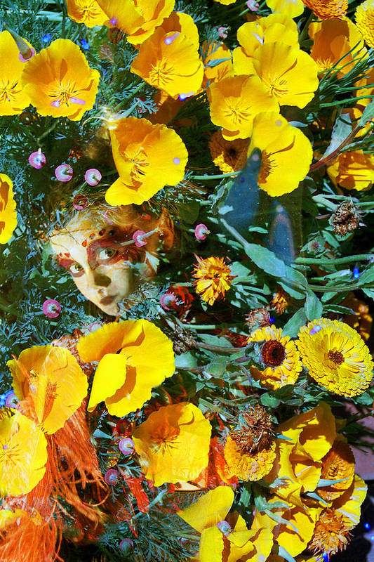 Fairy Faeire Elf Elfin Elves Poppies Flowers Nature Double Exposures Photography Fae Magic Magical Orange Pink Green Spring Child Hidden Pixie Cute Mysterious Dreamy  Art Print featuring the photograph Elfin Child Of Poppies by Cyoakha Grace