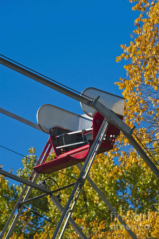 Amusement Art Print featuring the photograph Empty Chair On Ferris Wheel by Thom Gourley/Flatbread Images, LLC