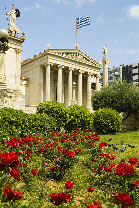 Europe Art Print featuring the photograph Exterior Of The Athens Academy, Greece by Richard Nowitz