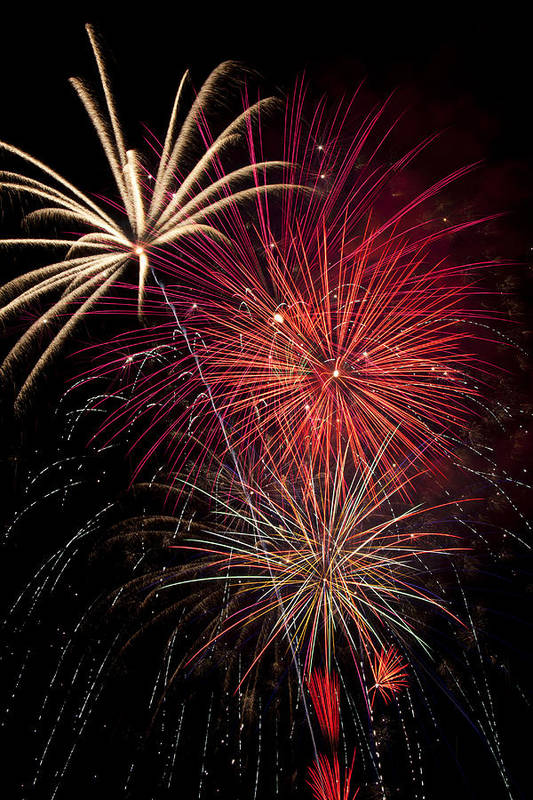 4th Of July Art Print featuring the photograph Fireworks by Garry Gay