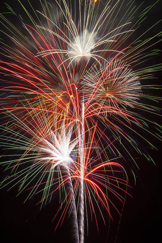 Fireworks 4th Of July Print featuring the photograph Fireworks Light Up The Night by Garry Gay