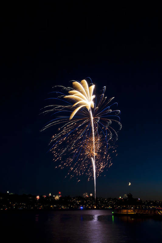 Fireworks Art Print featuring the photograph Fireworks Over Lake Washington by David Rische