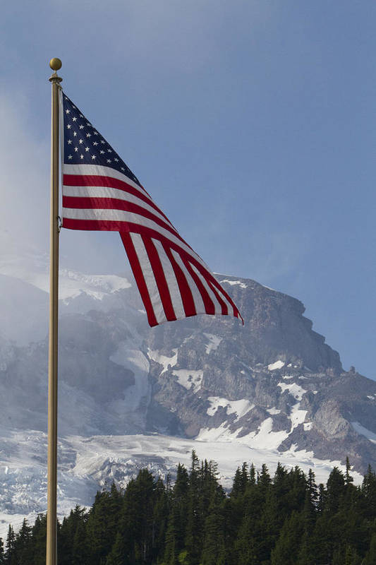 Mt Rainier Art Print featuring the photograph Flag And The Mountain by Rick Pinson
