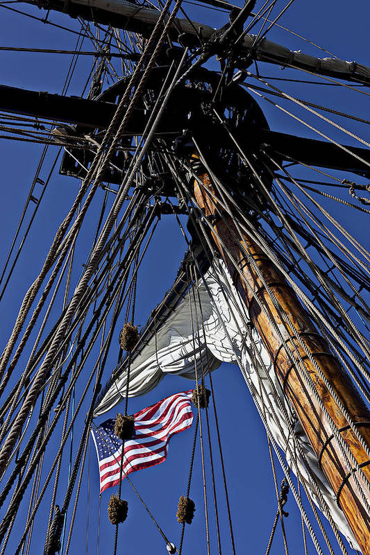 American Art Print featuring the photograph Flag In The Rigging by Garry Gay