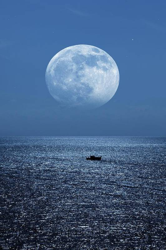 Moon Art Print featuring the photograph Full Moon Rising Over The Sea by Detlev Van Ravenswaay