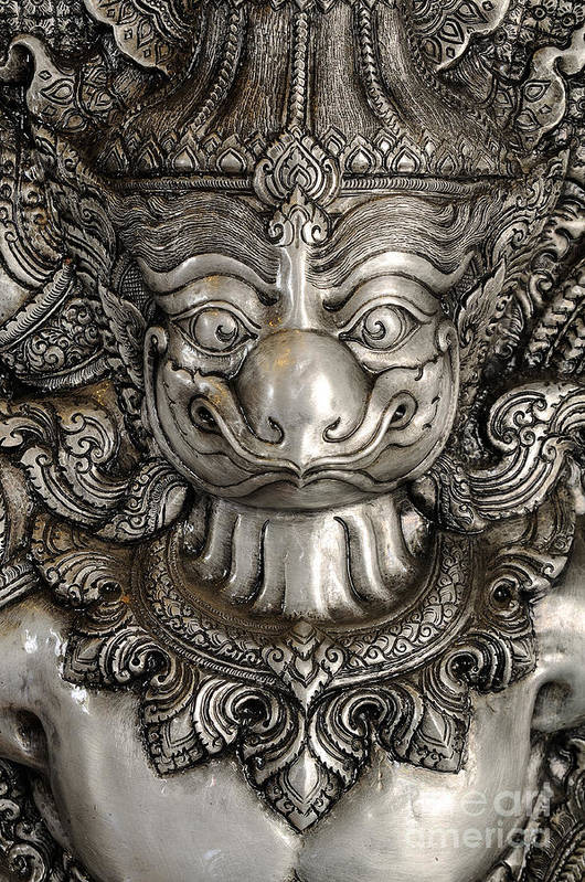 Abstract Art Print featuring the sculpture Garuda Silver by Panupong Roopyai