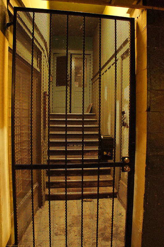 Gated Art Print featuring the photograph Gated Stairwell At Night by Mick Anderson