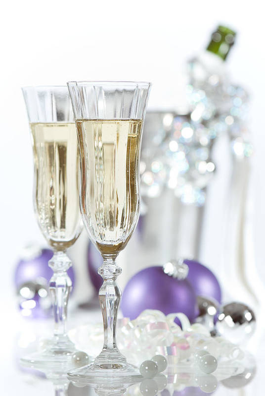Champagne Art Print featuring the photograph Glasses Of Champagne by Amanda Elwell