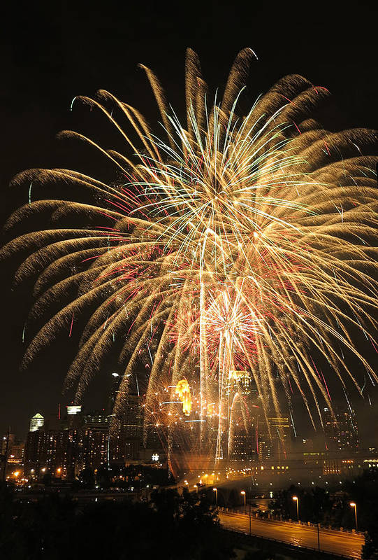 Fireworks Art Print featuring the photograph Golden Fireworks Over Minneapolis by Heidi Hermes