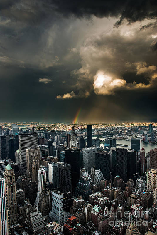 Manhatten Print featuring the photograph Great Skies Over Manhattan by Hannes Cmarits