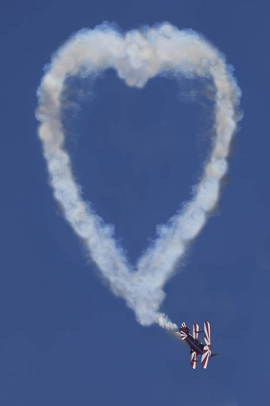 Plane Art Print featuring the photograph Heart Shape Smoke And Plane by Garry Gay