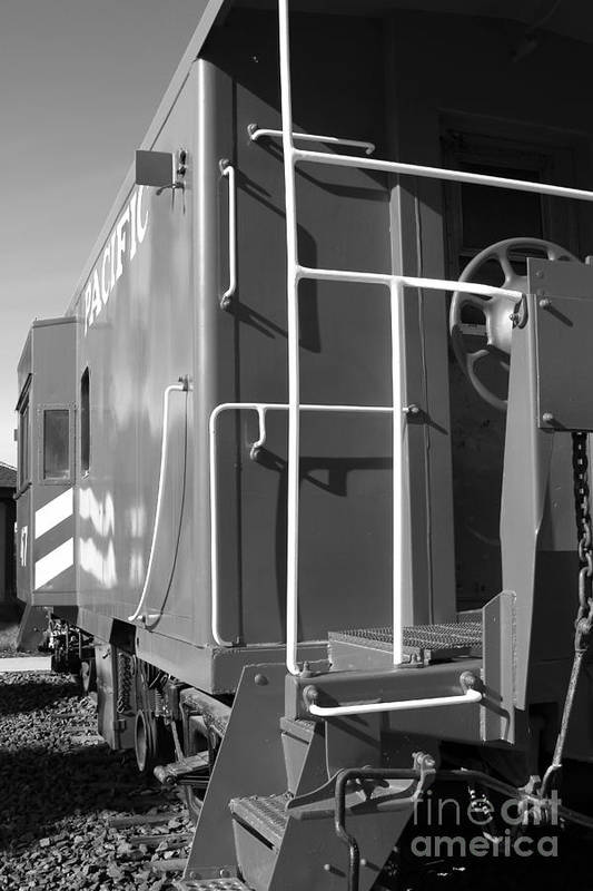 Black And White Art Print featuring the photograph Historic Niles District In California Near Fremont . Western Pacific Caboose Train . 7d10622 . Bw by Wingsdomain Art and Photography