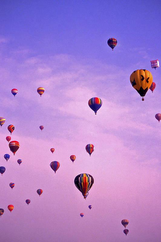 Hot Air Art Print featuring the photograph Hot Air Balloon Race - 1 by Randy Muir